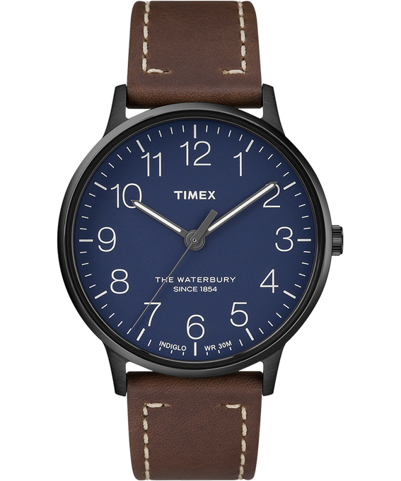 Waterbury 40mm Classic Leather Strap Watch Black/Brown/Blue (large)