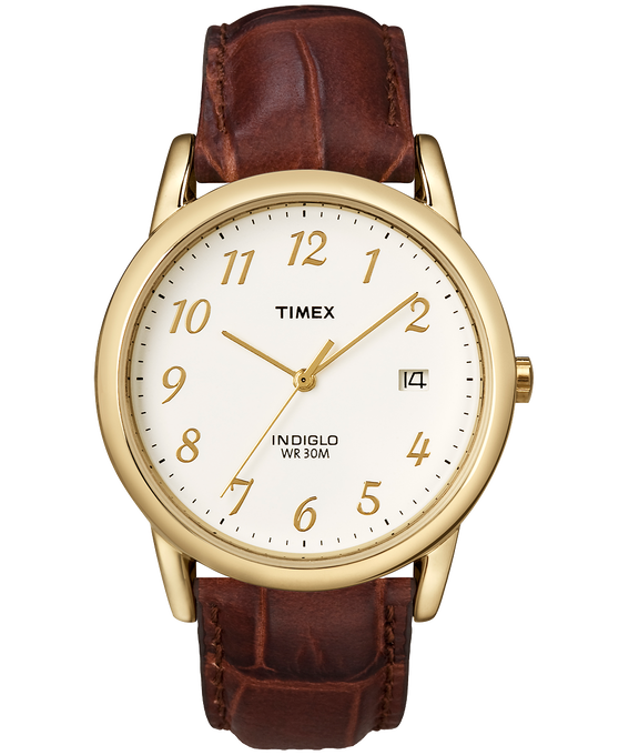 Easy Reader 35mm Leather Watch with Date and Gold Numbers Gold-Tone/Brown/Natural large