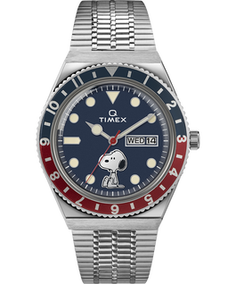 Q Timex Reissue x Peanuts 70th Anniversary 38mm Stainless Steel Bracelet Watch Stainless-Steel/Blue large