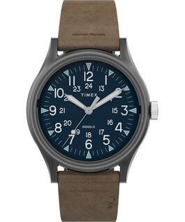 MK1 Steel 40mm Leather Strap Watch Gunmetal/Brown large