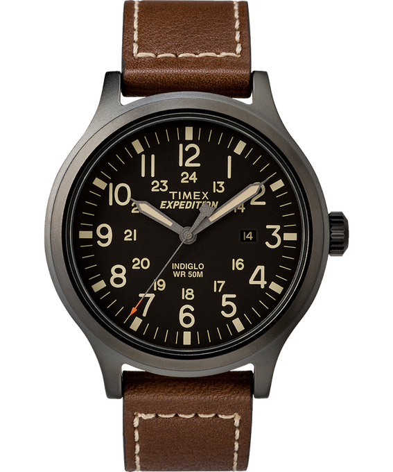 Expedition Scout 43mm Leather Watch Black/Brown large