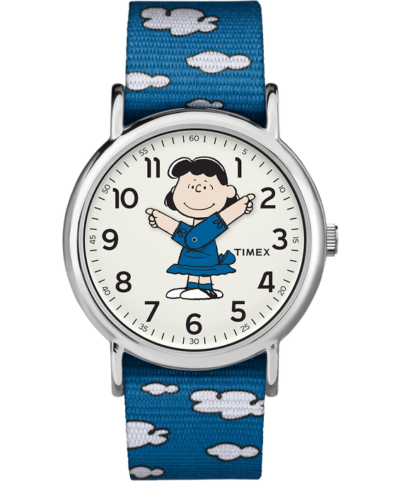 Lucy 38mm Nylon Strap Watch Silver-Tone/Blue/White (large)