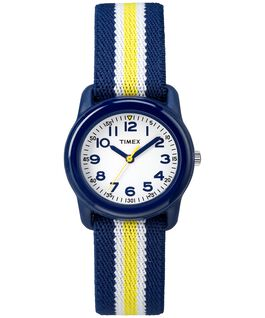 Kids Analog 29mm Elastic Fabric Watch Blue/White large