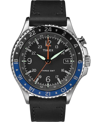 7272ffd45 Allied Three GMT 43mm Leather Strap Watch Stainless-Steel/Black large