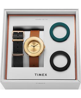 Variety 34mm Leather Strap Watch Box Set Gold-Tone/Tan large