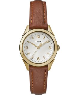 Torrington Womens 3-Hand 27mm Leather Strap Watch Gold-Tone-Brown-Silver-Tone large