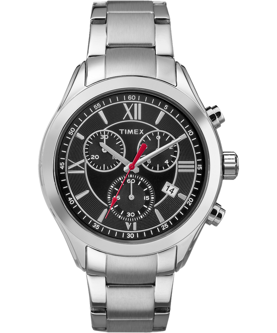 Miami Chronograph Mens 38mm Stainless Steel Watch Silver-Tone/Black large