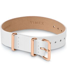16mm Leather Single Layer Slip Thru Strap with Rose Gold Tone White large