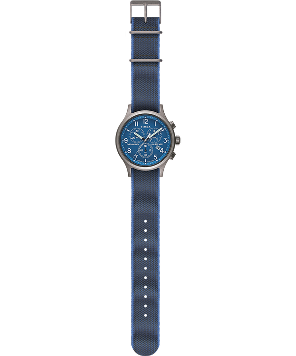 Allied Chronograph 42mm Reversible and Elastic Fabric Strap Watch Blue/Blue large
