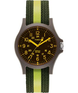 Acadia 40mm Striped Fabric Strap and Colored Lens Watch Green/Black large