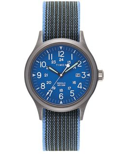 Allied 40mm Elastic Fabric Strap Watch Blue/Blue large