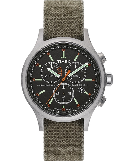 Allied Chronograph 42mm Stonewashed Fabric Strap Watch  large