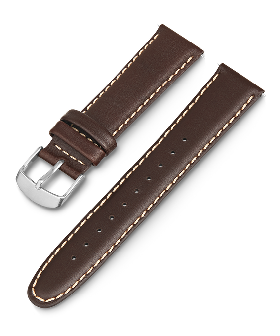 20mm Leather Strap with White Stiching Brown large