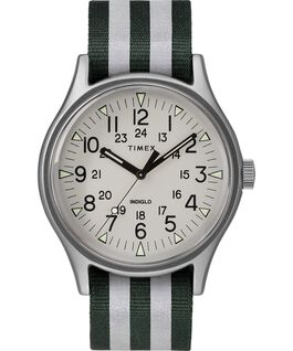 MK1 Aluminum 40mm Reflective Nylon Strap Watch Silver-Tone/Green large