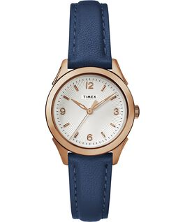 Torrington Womens 3-Hand 27mm Leather Strap Watch Rose-Gold-Tone/Blue/Silver-Tone large