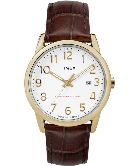 Easy Reader Signature 38mm Leather Watch with Date Gold-Tone/Brown/White (large)