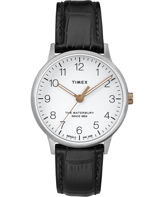 Waterbury 36mm Classic Leather Strap Watch Stainless-Steel/Black/White (large)
