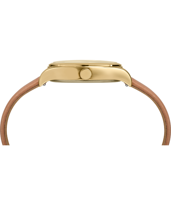 Waterbury Traditional 34mm Leather Strap Watch Gold-Tone/Tan/Blue large