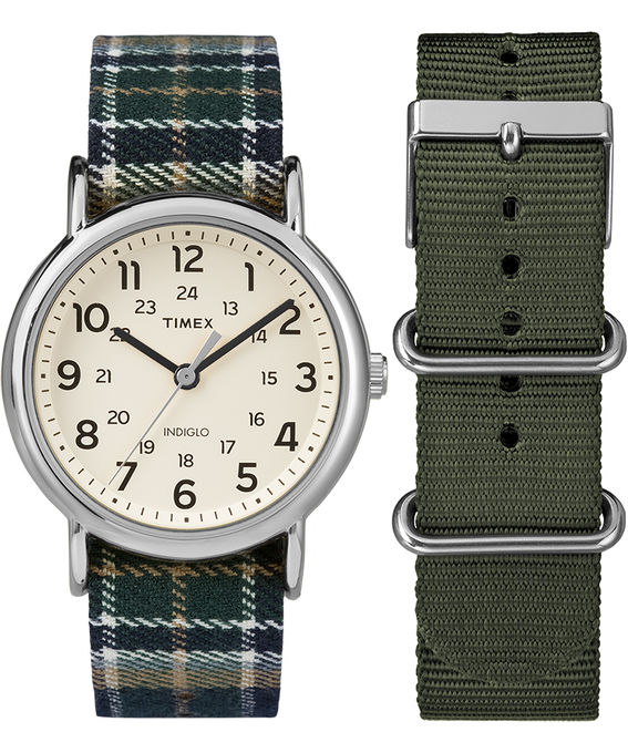 Weekender 38mm Green Plaid Strap/Cream Dial Gift Set  (large)