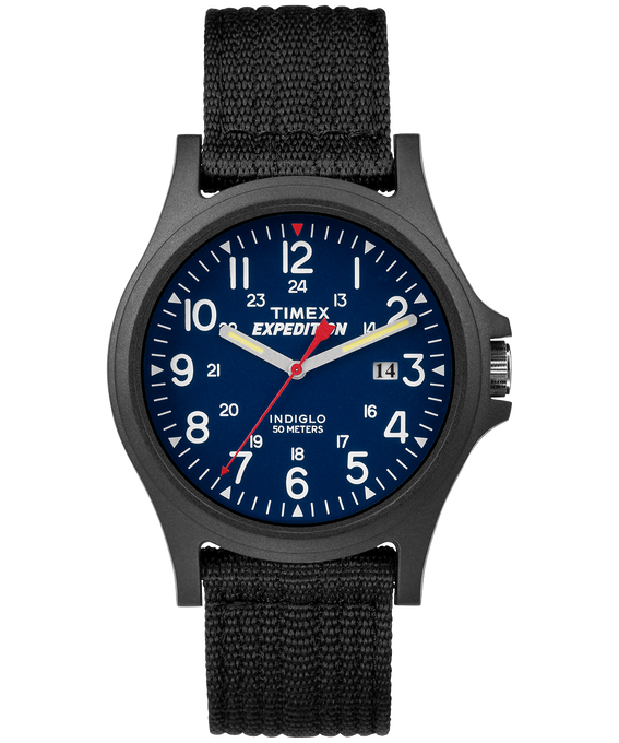 Expedition Acadia 40mm Fabric Strap Watch Black/Blue large