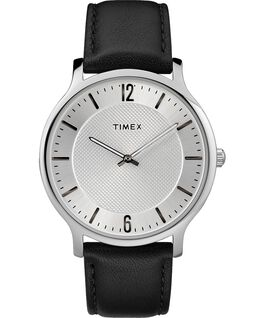 Metropolitan Mens 40mm Leather Watch Silver-Tone/Black large