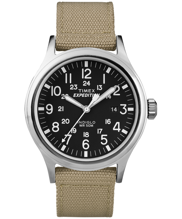 Expedition Scout 40mm Nylon Strap Watch Silver-Tone/Tan/Black large