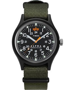Timex x Alpha Industries 40mm Fabric Strap Watch Black/Green large