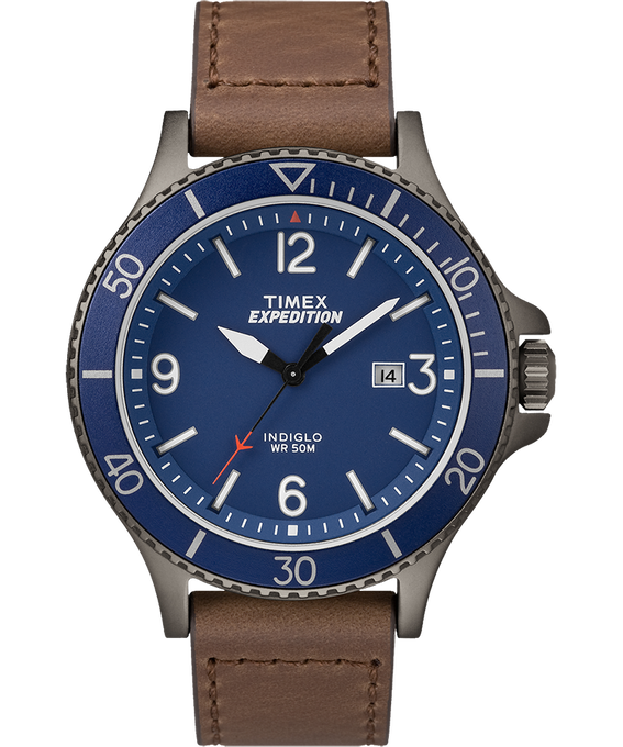Expedition Ranger 43mm Leather Watch Gunmetal/Brown/Blue large