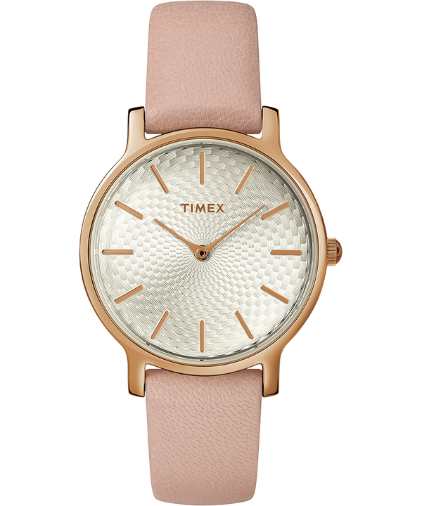 Womens Metropolitan 34mm Leather Strap with Rose Gold  large
