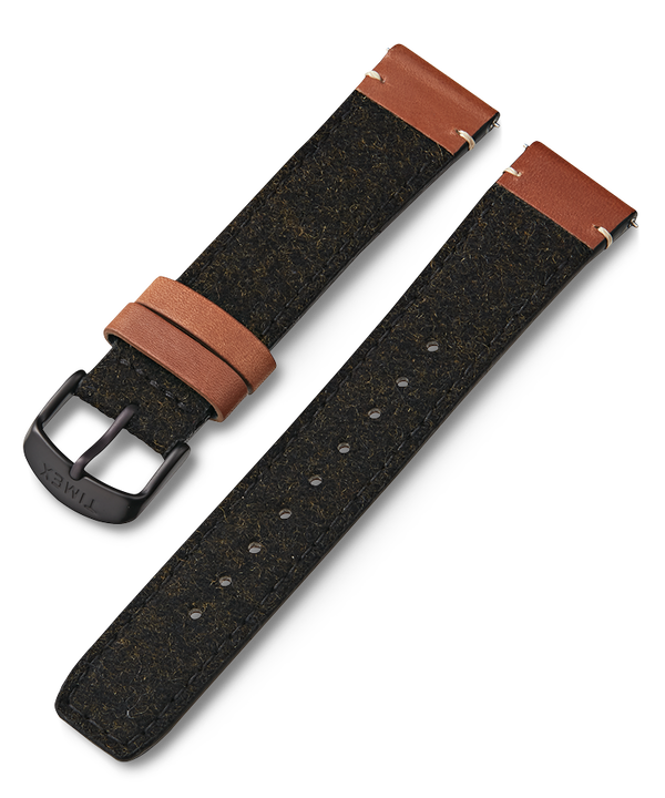 20mm Fabric Strap with Leather Accents Black large
