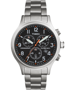 Allied Chronograph 42mm Stainless Steel Bracelet Watch Silver-Tone/Stainless-Steel/Black large