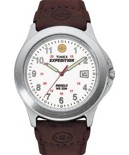 Expedition Metal Field 40mm Leather Watch Silver-Tone/Brown/White large