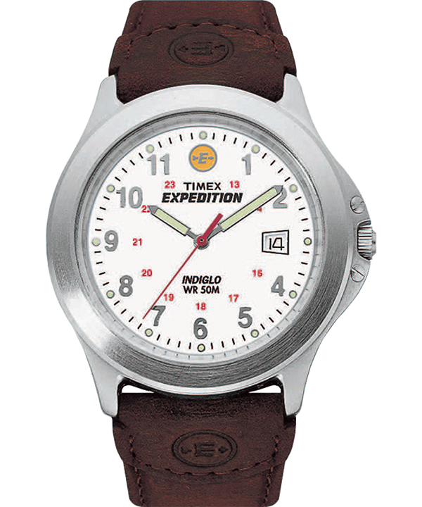 Expedition Metal Field 40mm Leather Strap Watch Silver-Tone/Brown/White large