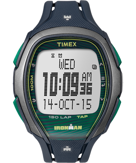 IRONMAN Sleek 150 46mm Resin Strap Watch Blue/Green/Gray (large)