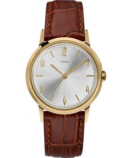 Marlin Ladies 34mm Hand-Wound Leather Strap Watch Brown/Gold-Tone large