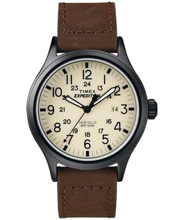 Expedition Scout 40mm Leather Strap with Stitching Watch  Black/Brown/Natural large