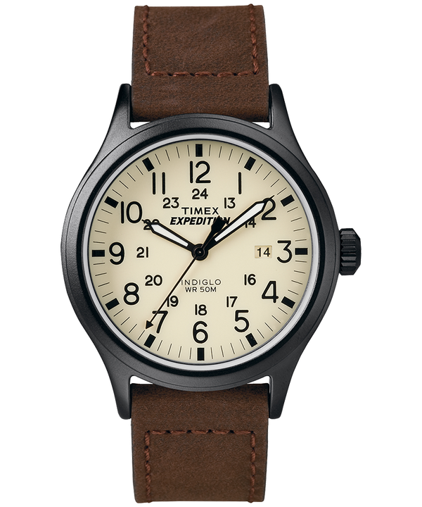 Expedition Scout 40mm Leather Strap Watch Black/Brown/Natural large