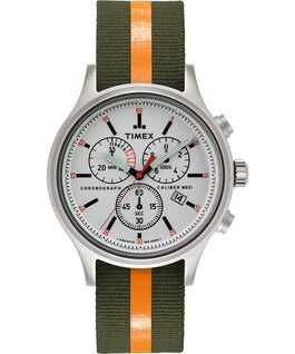 Allied Chronograph 42mm Reflective and Reversible Fabric Strap Watch Silver-Tone/Green large