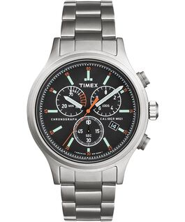 Allied Chronograph 42mm Stainless Steel Bracelet Watch with Hour Markers Silver-Tone/Stainless-Steel/Black large