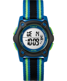 Youth Digital 35mm Double Layer Striped Nylon Strap Watch Blue/Black/Green large