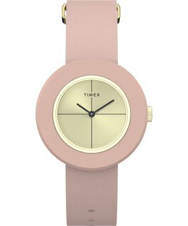 Variety 34mm Leather Strap Watch Gold-Tone/Pink large