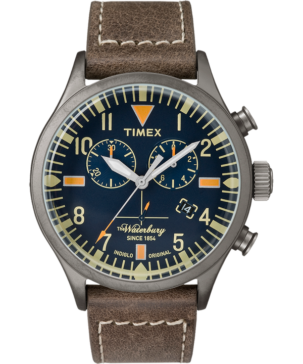 Waterbury Traditional Chronograph 42mm Leather Watch  large