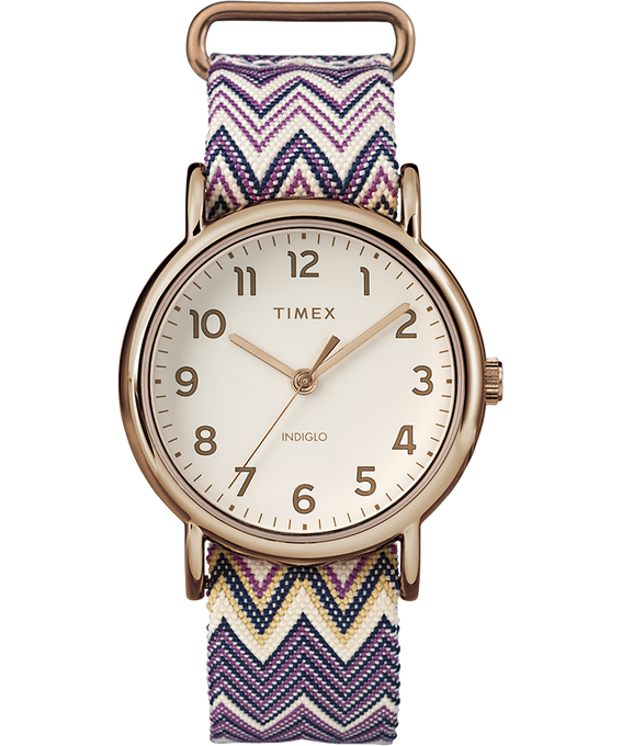Weekender Chevron 38mm Fabric Strap Watch Rose-Gold-Tone/Purple/Cream (large)