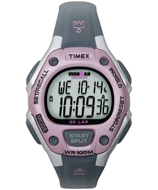 IRONMAN Classic 30 Mid-Size Resin Strap Watch Silver-Tone/Gray/Pink large