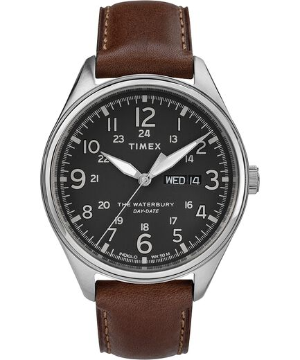 17cfd38ec Waterbury Traditional Day Date 42mm Leather Strap Watch Stainless-Steel/Brown/Black  large