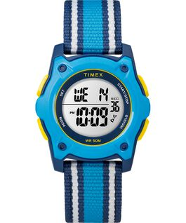 Youth Digital 34mm Fabric with Stripe Strap Watch Blue/Yellow large