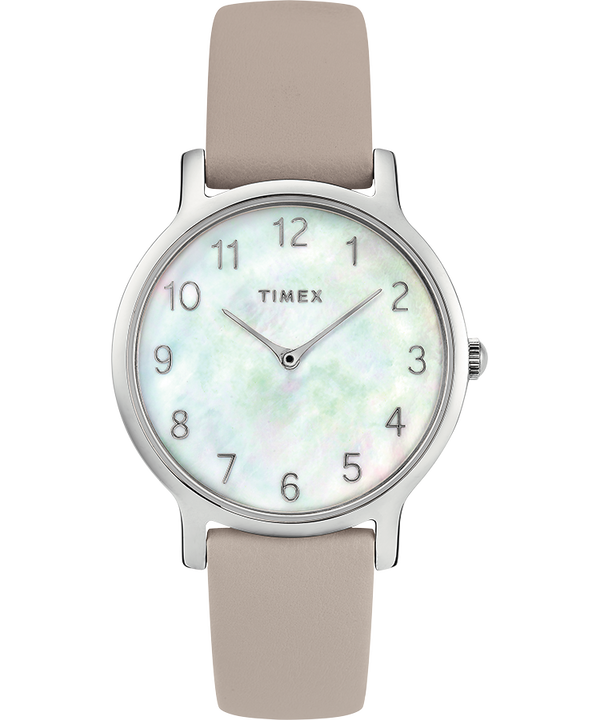 Metropolitan 34mm Leather Watch with Mother of Pearl Dial  large