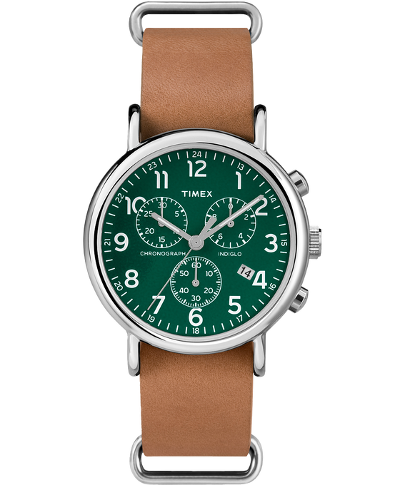 Weekender Chrono Slip Through Leather Strap Silver-Tone/Tan/Green large