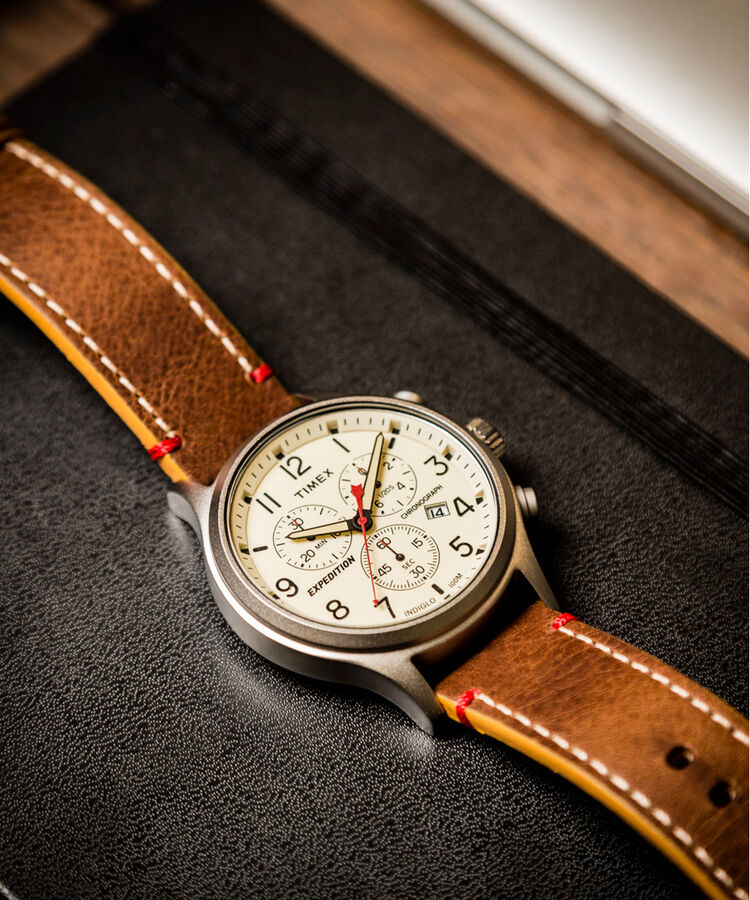 91528eda4 Expedition Scout Chronograph 42mm Leather Strap Watch  Silver-Tone/Brown/Natural large