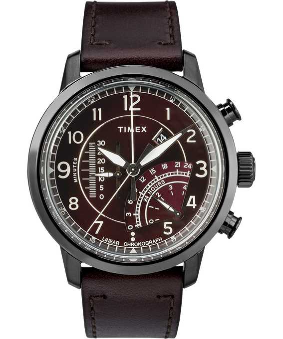 Waterbury Linear Chronograph 45mm Leather Watch Gray/Red (large)